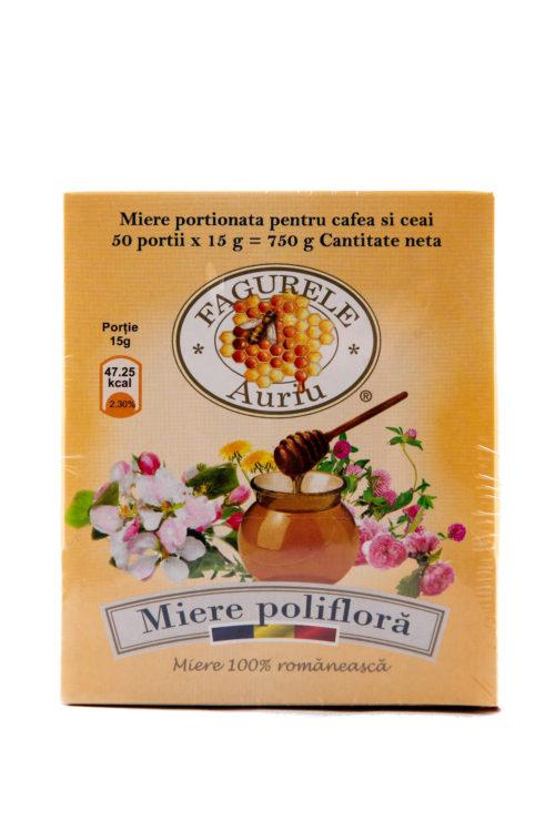 Miere portionata pentru cafea si ceai 50*15g Fagurele Auriu. Mierea polifloră este recomandată în special copiilor și vârstnicilor