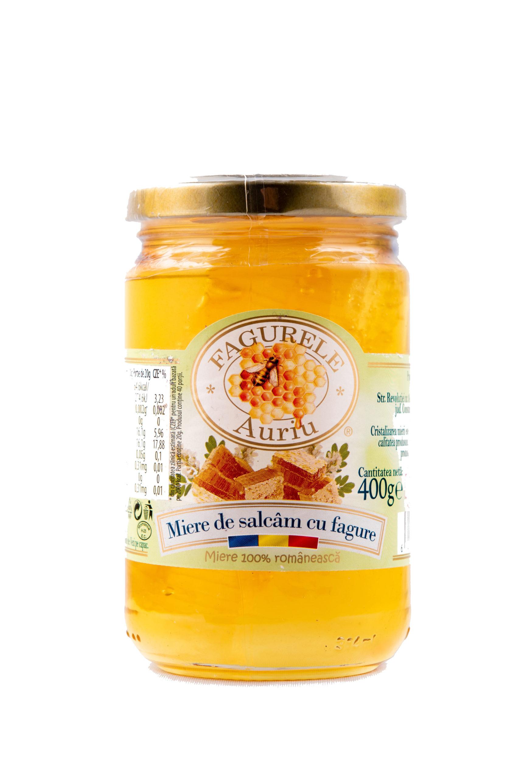 Miere salcam cu fagure Fagurele Auriu 400g - Întăreşte imunitatea, Ameliorează afecţiunile respiratorii, Combate afecţiunile stomacului