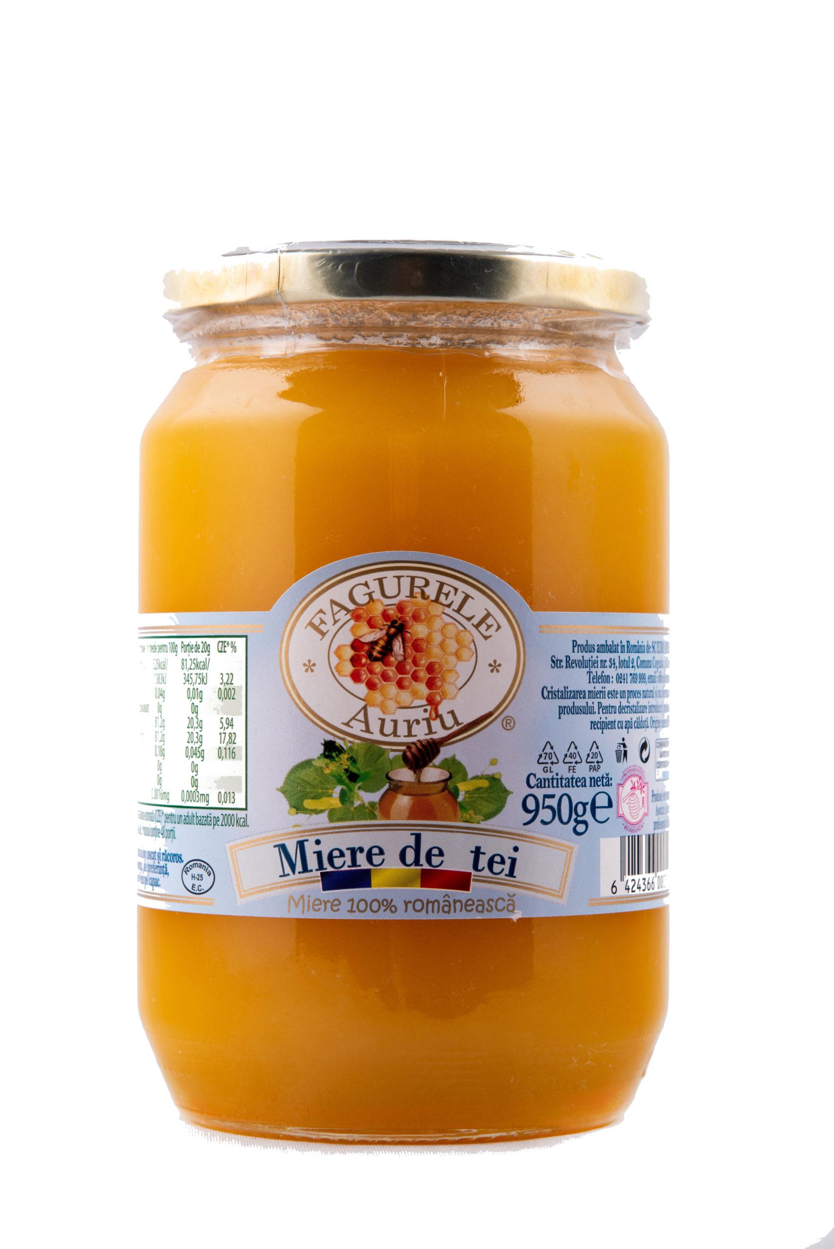 Miere tei Fagurele Auriu 950 g bogată în vitamine, mai ales cele din complexul B, aminoacizi, antixodanți, polen și mană.