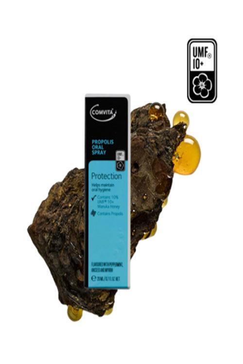 Spray cu Propolis si Miere Manuka UMF®10+ 20ml. Calmeaza durerile de gat si ajuta la improspatarea respiratiei.