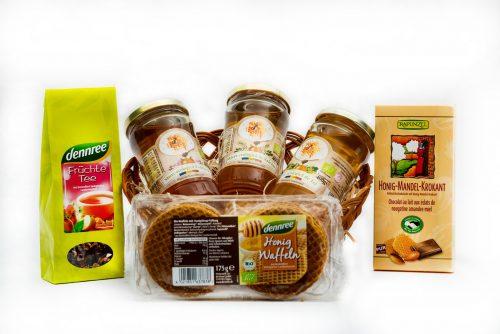 Cos cu produse BIO - Ceai de fructe BIO, Ciocolata BIO, Vafe cu miere BIO, Miere salcam ECO, Miere tei ECO, Miere poliflora ECO