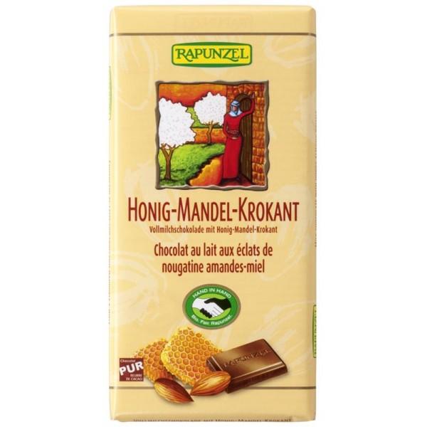 Ciocolata din lapte integral crocanta cu miere si migdale