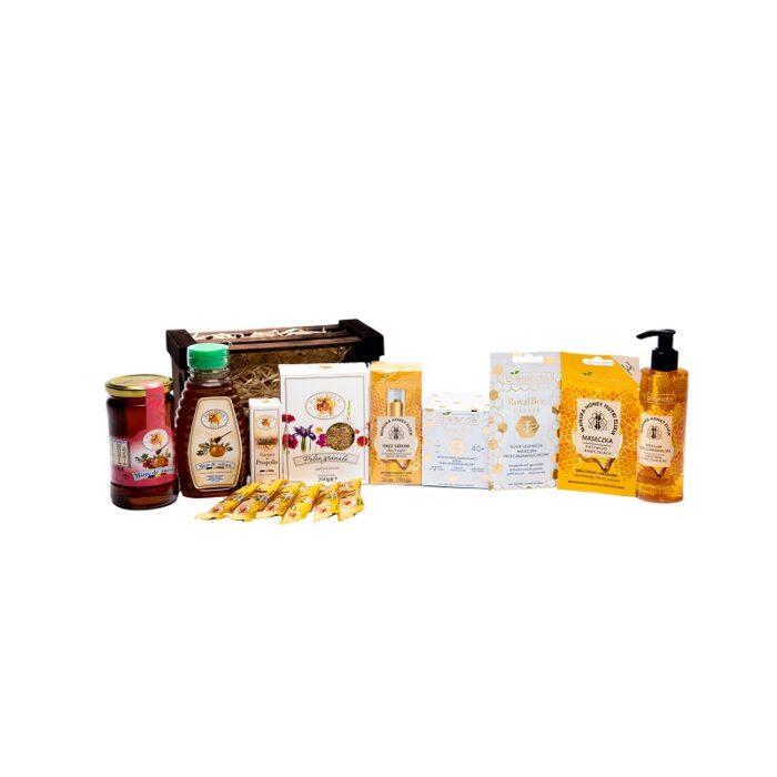 Cos Lemn Set Maro Mare cu produse Cosmetice Bielenda & produse Apicole